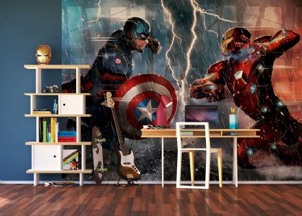 Iron Man and Captain America paper wall mural